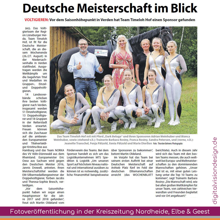 ++ Fotoveröffentlichung (Thorsten Behrens Photography) in der Kreiszeitung Nordheide, Elbe und Geest ++