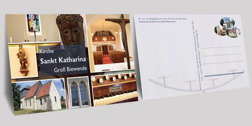 Postkarten für die drei Kirchen (Sankt Stephanus (Kissenbrück), Sankt Martin (Klein Biewende) und Sankt Katharina (Groß Biewende)) der Dreifaltigkeitsgemeinde Kissenbrück-Biewende im Pfarrverband Wolfenbüttel Mitte-Süd (Propstei Wolfenbüttel).