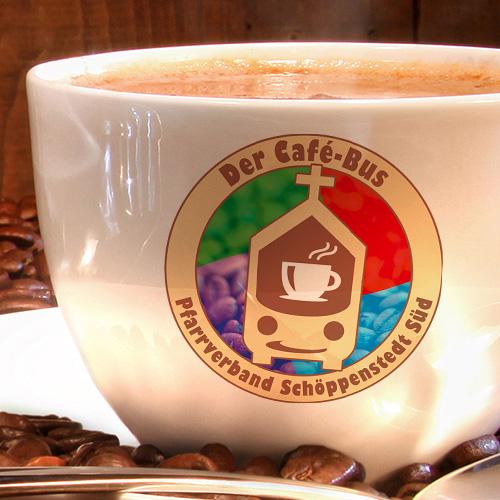 3D Mockup vom Der Café-Bus Logo (Reinzeichnung aus dem Jahr 2020)